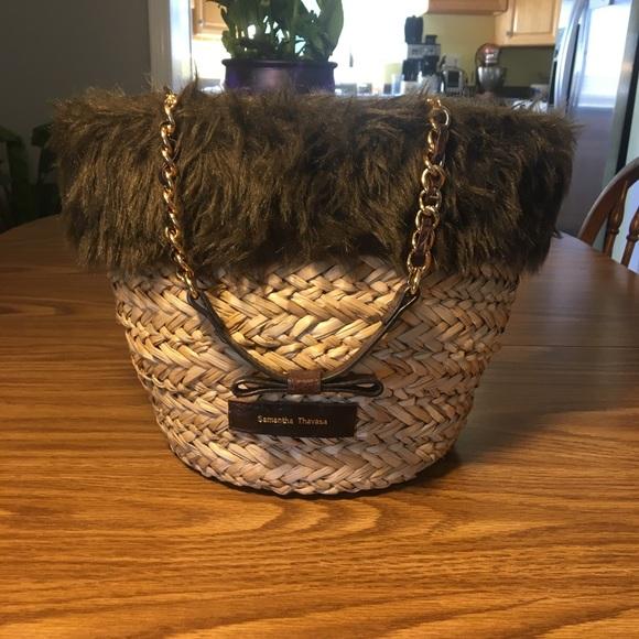 Samantha Thavasa Handbags - Samantha Thavasa Straw with Fur Handbag